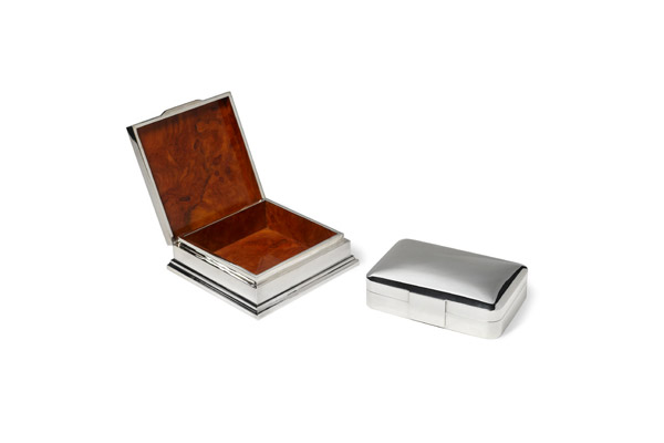 Burlwood lined silver boxes