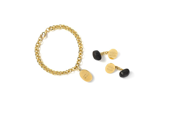 18kt yellow gold Touch Wood Charm Bracelet and Cufflinks
