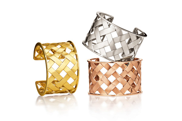 18kt yellow, white and rose gold Criss Cross cuffs