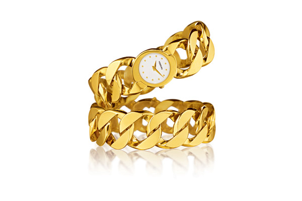 18kt yellow gold Curb link bracelet and curb link bracelet watch