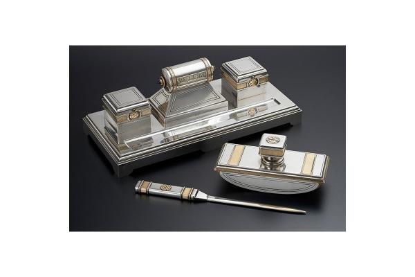 Cartier three piece silver, gold and sapphire Desk Set