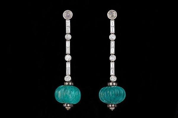 Emerald and Diamond Drop Earrings by Harry Fane