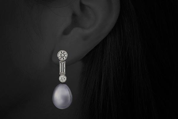Diamond and Pearl Drop Earrings by Harry Fane
